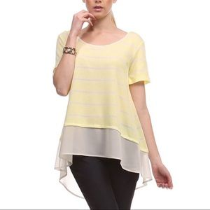 Le Lis yellow striped shirt short sleeves high low
